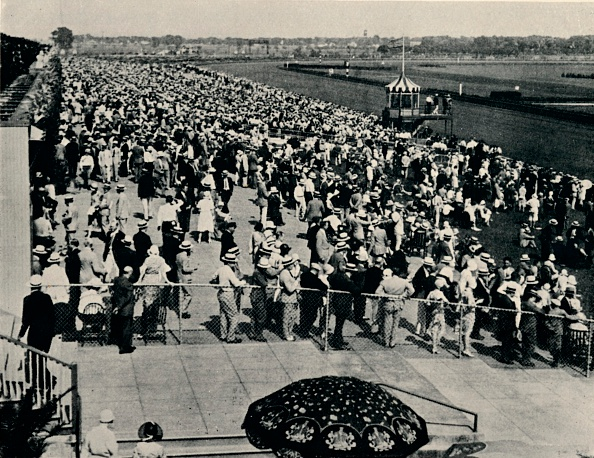The Arlington Race Track, Chicago, c1930. Arlington International Racecourse was founded as Arlington Park by California businessman Harry D. Curly Brown. The track officially opened in 1927 to 20,000 spectators. From Flat Racing published by Seeley, Service & Co, Ltd., London, 1940.  (Photo by Print Collector/Getty Images)